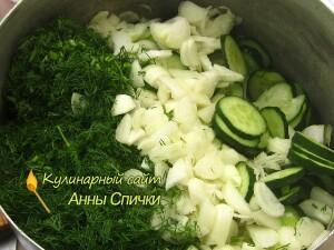 Огуречный салат с укропом