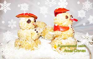 Новогодние пирожные снеговики
