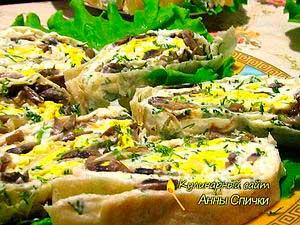 Рулет из лаваша с сыром и грибами