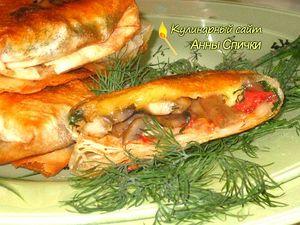 Закуска из лаваша с сыром и грибами