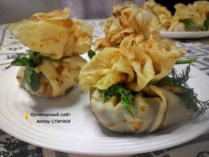Блины фаршированные грибами рецепт