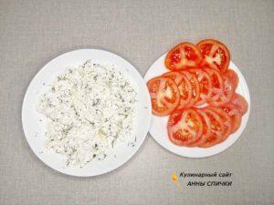 Начинка для пирожков из творога с чесноком и помидорами