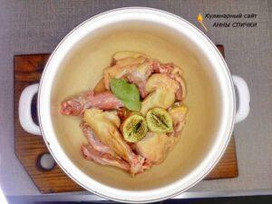 Готовим куриный бульон для супа с галушками