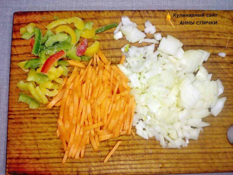 Овощи для супа с галушками