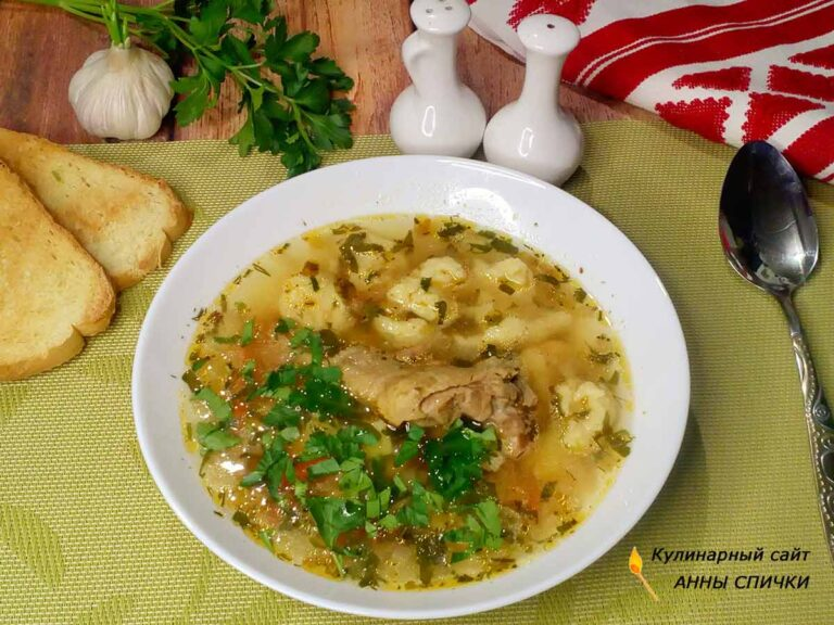 Суп с маленькими галушками