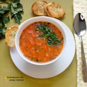 Постный суп с пшеничной крупой