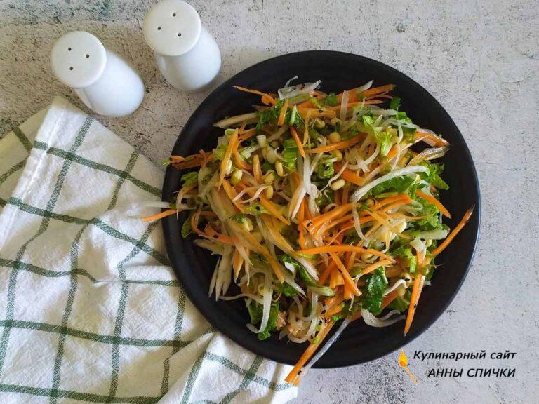 Рецепт салата со свежими ростками фасоли мунг и дайконом