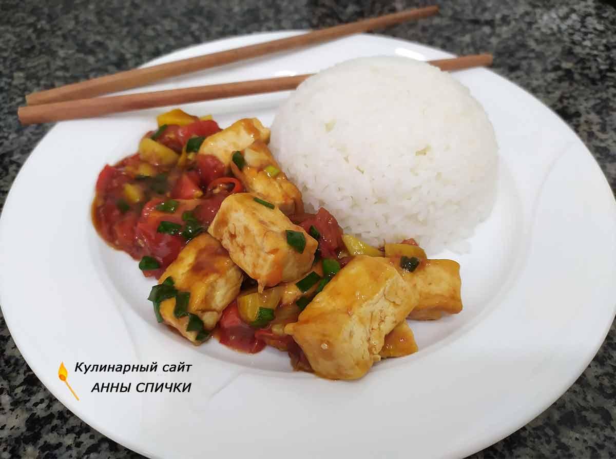 Тофу в кисло-сладком соусе готов