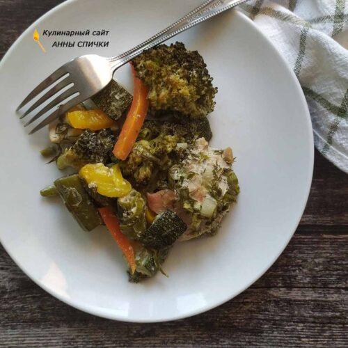 Овощи с курицей в духовке пп рецепт