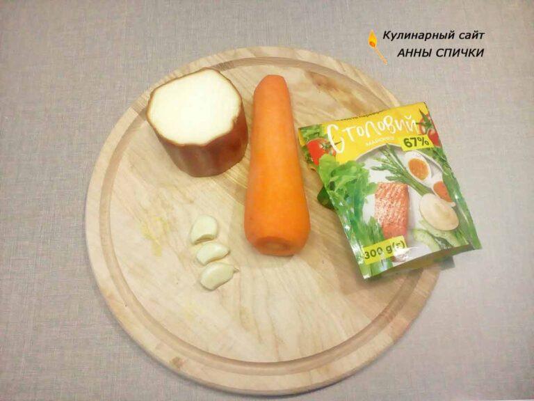 Салат морковь колбасный сыр чеснок