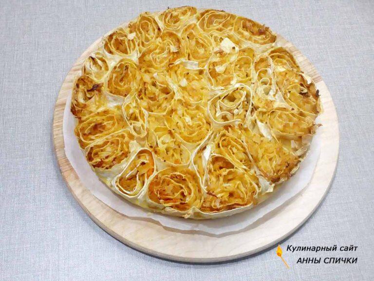 Заливной пирог с капустой из лаваша