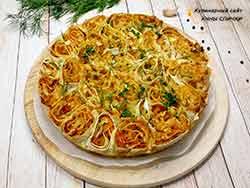Пирог из лаваша с капустой в яичной заливке в духовке