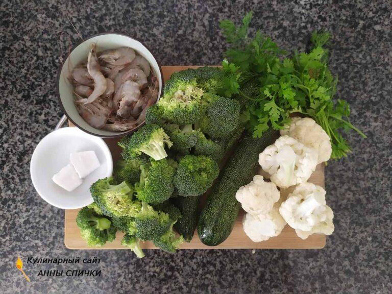 Диетический суп пюре с креветками на кокосовом молоке