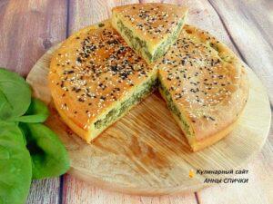 Вкусный заливной пирог с творогом и шпинатом